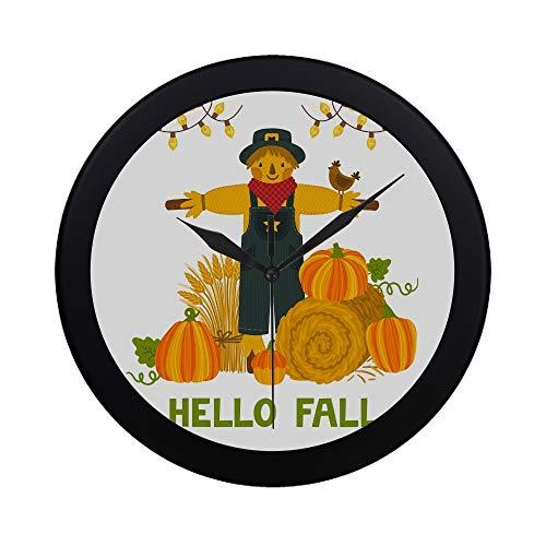 (SHAOKAO Moderne einfache Herbst-Kürbis-Heu-Ballen-Wanduhr-Innen-Nicht-tickender Stiller Quarz-ruhige Sweep-Bewegungs-Wand-Clcok für Büro, Badezimmer, Wohnzimmer dekorativ 9,65 Zoll)