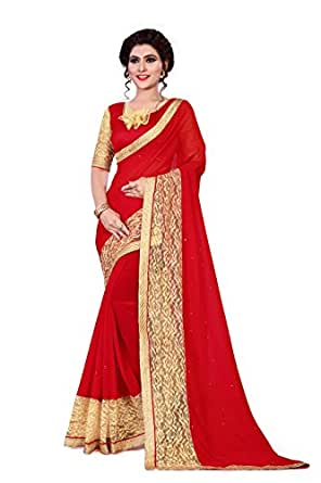 Saree By Saree Mandir Georgette Saree With Blouse Piece (_Red And Cream_Free Size)