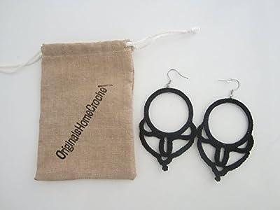 Boucles d'oreille au crochet noir, bijoux femme au crochet, créoles en coton, bijoux textile