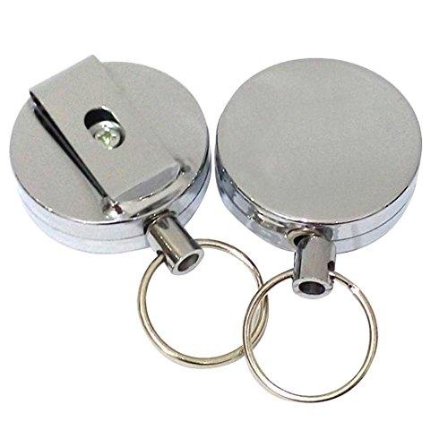 Golden Lank 1 Stück Retractable Keyring Metall ID Karten Schlüsselanhänger Abziehvorrichtung Einfacher Zug Wölbungs Einziehbarer Schlüsselring