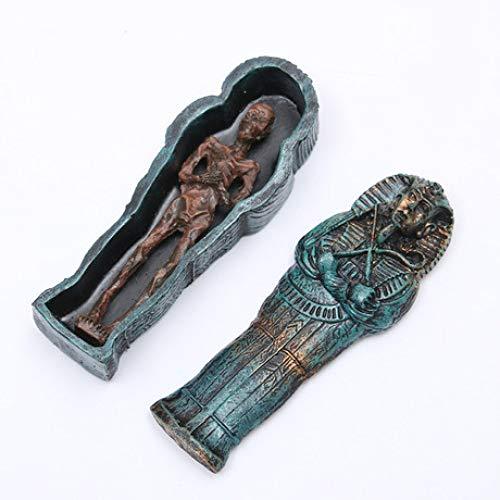 BUG-LPH Alte äGyptische Mummifizierte Pharao Sarg Harz Handwerk 10 * 2.4 * 1.5Cm Aquarium Landschaftsbau Dekoration Modell