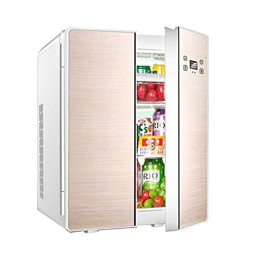 HUIQC Tragbarer Doppeltür-Kühlschrank mit Gefrierfach 25L Liter, Mini-Wechselstrom- oder Gleichstrom-Kühlboxen, Getränke, Wein-Camping, Reisen, Picknicks, kompakt (Farbe : Gold, größe : Style B)