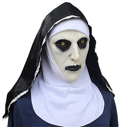 VUKUB Halloween Decoro Inorridito Suora Maschera Costume Maschera Cosplay Maschera Completa Testa