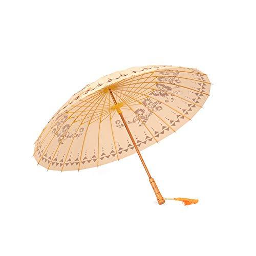 HAIMEI-WU Frauen longsighted Regenschirm Regenzeit Measures 24 Kastagnetten Wind Resistant chinesischen Stil Regenschirm Leicht (Color : Rot, Size : One Size)