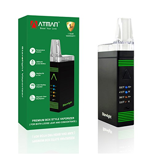 ATMAN Starlight portatile vaporizzatore erba per l'erba secca e la cera, Vaporizzatore potente dotato di batteria da 2800Mah e controllo di temperatura a 4 livelli, riscaldando rapidamente in 15s con bobina al quarzo ,No Nicotine-Black