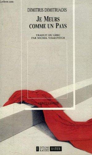 Je meurs comme un pays : Projet pour un roman