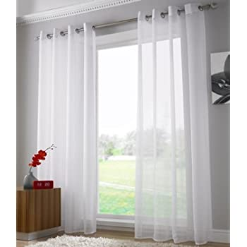 Plain Voile Curtain Panel Ring Top Heading Eyelet Curtains Ready Made Sheer Panels 59 X 90 White