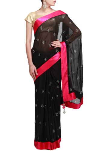 7acb83a7f0def1 Kalki Fashions Women Black Saree With Stone Work Featuring In Contrast Border  Only On Kalki