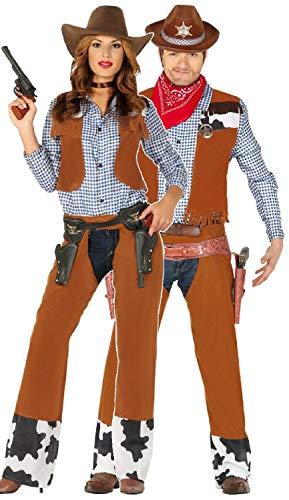 Fancy Me Paare Passende Damen & Herren Braun Cowboy Cowgirl Wild West Western Karneval Kostüm Outfits