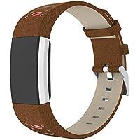 TopTen - Correa ajustable de piel para reloj deportivo Fitbit Charge 2 Fitness, mujer, color D, tamaño 5.4-9.4 inch
