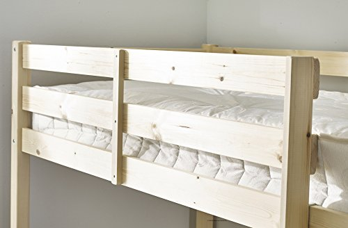 Loft Bunk Bed with memory foam mattress- Heavy Duty 3ft single wooden high sleeper bunkbed - CAN BE USED BY ADULTS