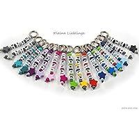 Schlüsselanhänger mit Namen handmade - Kinder - Erwachsene - Doppelnamen möglich - GRATIS Versand - Taschenbaumler - Stern - Schlüsselring - verschiedene Farben