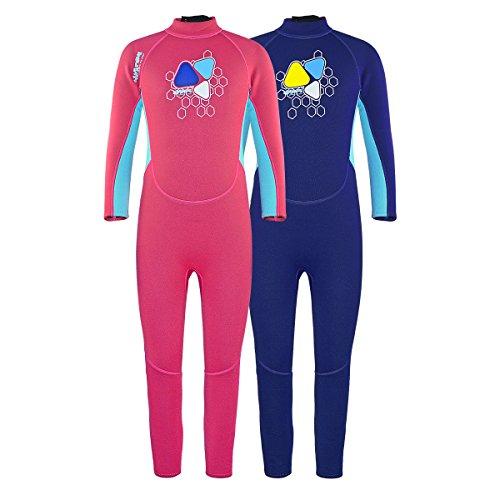 LayaTone Neoprenanzug Kinder Lang 2mm Jungen Mädchen UV-Schutz Schwimmanzug (7-8Jahre, Rosa)