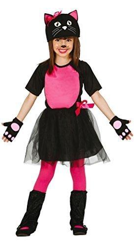 Mädchen rosa Urban Kitty Katze Tier für Katzen Karneval Halloween Kostüm Kleid Outfit 3-12 Jahre - Rosa, 5-6 Years