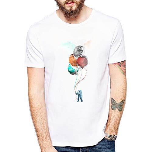 MKDLJY T Shirts Lustige Ballons Reise T-Shirt des Raumfahrers Mode Cool Cosmic Space T-Shirt Sommer Männer T-Shirts Tops - Gerippte Ballon
