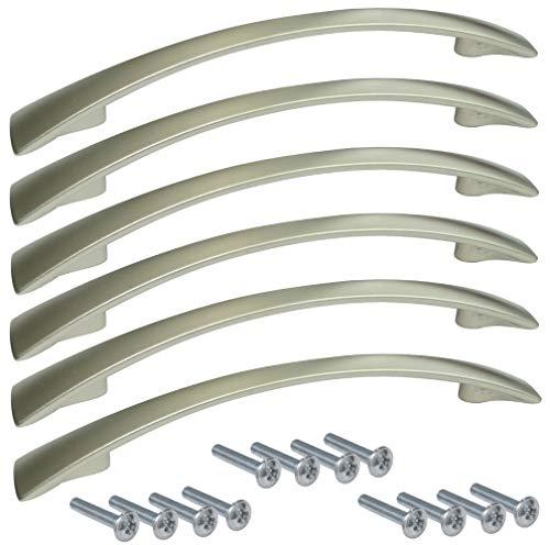 AERZETIX: 6 x Schubladengriff Schrank Oural Silber Satin 128 mm C41646