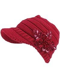iTemer 1 Pieza de Moda de Punto de Lana de Las Mujeres Tapa de la Flor  decoración de la Tapa Gorro cálido Sombrero… e36dac7fc86