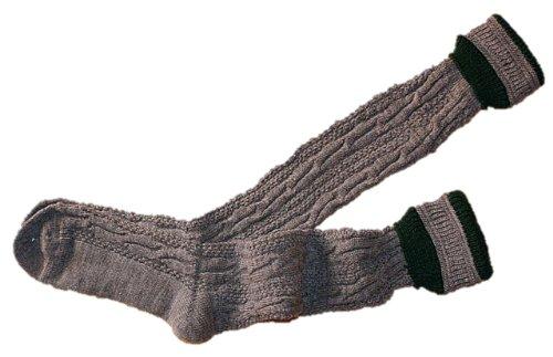 39-48 Trachtensocken Kniebundstrümpfe f. Lederhose Strümpfe Socken Stutzen grau, Größe:43-46