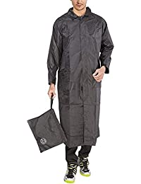 81bc4811018 FOBHIYA™ Polyester Waterproof Raincoat Super Soft Durable Long Rain Jacket  for Men with Adjustable Hood
