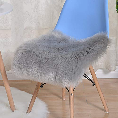 Trayosin Sitzkissen,Faux Lammfell Schaffell Sitzauflage Longhair Fell Optik Nachahmung Wolle Sofa Matte (Grau, 45 * 45cm)