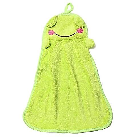 rub Hand Towels - TOOGOO(R)coral Velvet rub Hand Towels green frog