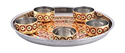 RAJKRUTI Handicraft Stainless Steel Dinner Thali 5 piece Set With Meenakari work , Festive Decor , Dinner plate