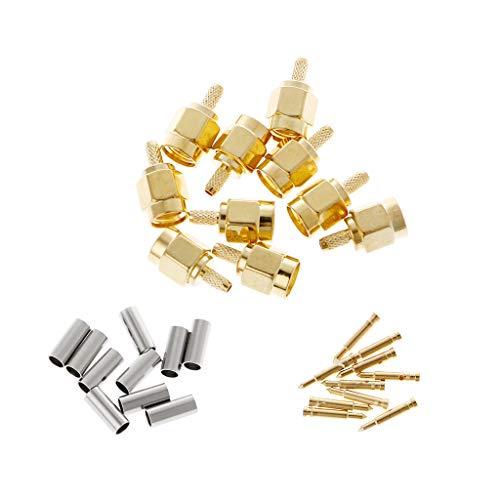 Rtengtunn 10 Stück SMA-Stecker Crimp RG174 RG316 LMR100 Kabel HF-Steckverbinder