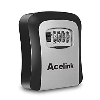 Key Safe, Acelink Wall Mounted Outdoor Key Lock Box with 4-Digit Combination Code, Share and Secure Keys