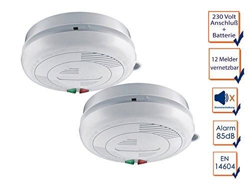 2er-Set vernetzbare / koppelbare Rauchmelder mit 230 Volt-Anschluß + Sicherheitsbatterie