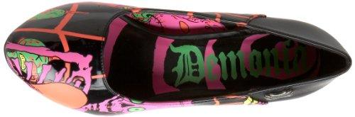 Demonia Zombie 02 - Scarpa décolleté di forma originale, con tacco altissimo e plateau, multicolore Nero (nero)