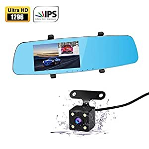 apleye dash cam 5 0 ips screen 170 wide angle full hd 1296p upgraded dual car camera video. Black Bedroom Furniture Sets. Home Design Ideas