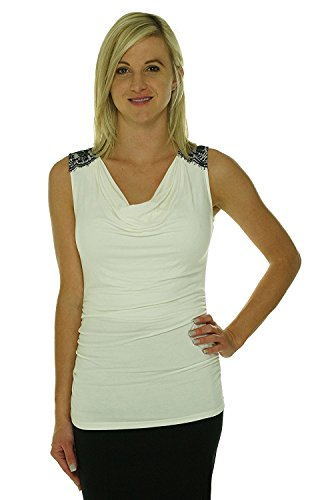 Nine West Women's Drape Neck Blouse (L, Ivory) (Drape Neck Top)