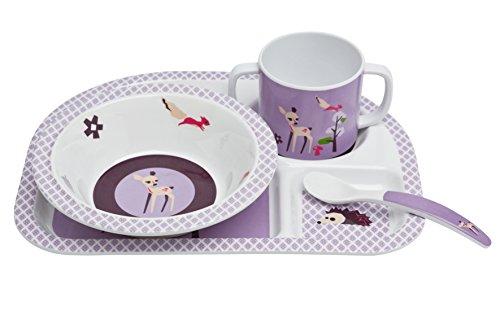 Lässig Dish Set 4-teiliges Kindergeschirrset mit Schale, aufgeteiltem Teller, Tasse und Besteck aus 100{d618be70272f1f320dedb26d7d820eb2dbf476492c4124e78d9b522e7b2587e5} Melamin, Little Tree Fawn