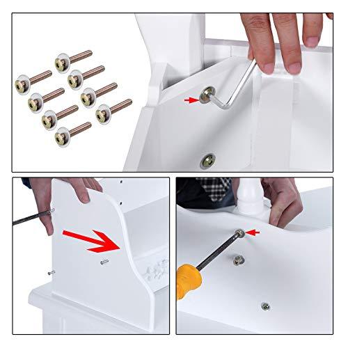 Songmics 5 Schubladen Schminktisch mit Spiegel Hocker, inkl. 2 Stück Unterteiler, Kippsicherung, weiß 80 x 145 x 40 cm (B x H x T) RDT15W - 21