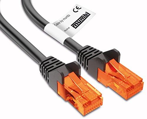 mumbi 3m CAT.5e Ethernet Lan Netzwerkkabel - CAT.5e (RJ-45) 3 Meter Kabel in schwarz