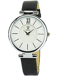 BELLOS -Damen Armbanduhr weiß Quarz Gehäuse Stahl Analog Display Typ Armband Kunstleder schwarz