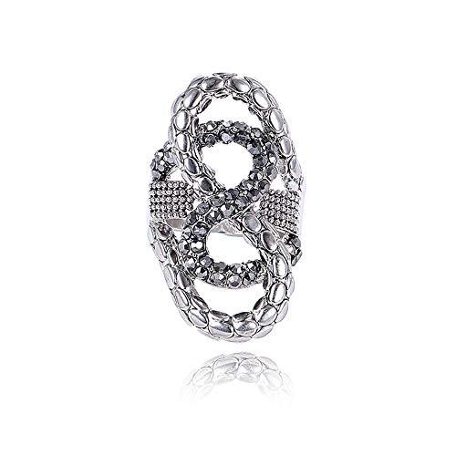 AZUO Vintage Mode Zweig Kranz Diamant Ring Retro Schwarz Hochzeit Cluster Cocktail Ring Breitband Frau,19mm