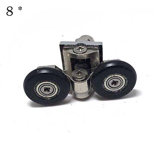 8 roues de remplacement porte de douche Fixation 4 x Haut et Bas 4 x – pour verre 6–8 mm