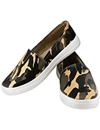 Zapatoz Presents Women's/Ladies/Female/Girls Trendy Fashionable Lightweight Comfortable Partywear, Casual Camouflage Shoes for Women Stylish Sneakers/Loafer/Slip-On Shoes_(S-7-Black)