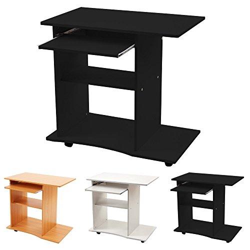 Computertisch PC Schreibtisch Bürotisch in Schwarz Oder Weiß Oder Buche mit Rollen Kingpower, Farbe:Schwarz