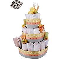 Torta di 35 pannolini Pampers tg. 3, 4-9kg, ideale per bambino o bambina, con prodotti Hipp e Chicco