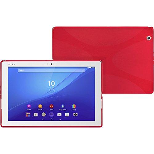 Preisvergleich Produktbild PhoneNatic Case für Sony Xperia Tablet Z4 Hülle Silikon rot X-Style + 2 Schutzfolien