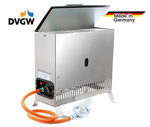 2 kW Edelstahl Gewächshausheizung / Frostwächter mit Gasschlauch , Druckminderer (Gasheizung,...