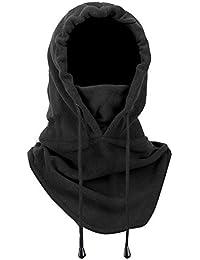 Idealeben Pasamontañas de Esquí Máscara Franela Unisex Multiuso Sombrero con Capucha de Cara Completa Cuello más Cálido para Invierno Actividades al Aire Libre (Negro)