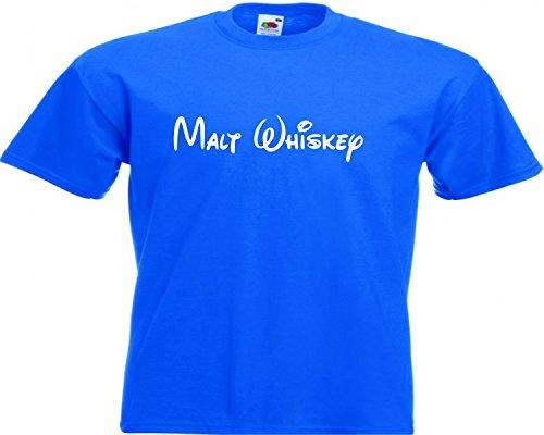 Motiv Fun T-Shirt Malt Whiskey Whisky Zeichentrick Comic Alkohol Motiv Nr. 2202 Blau