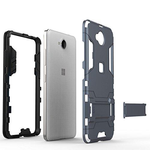 EKINHUI Case Cover 2 in 1 neue rüstung harter stil hybrid dual layer 'verteidiger pc - hard - fall stehen [stoßfeste fall] für nokia - microsoft lumia 650 ( Color : Blue Black , Size : Nokia Lumia 650 Red