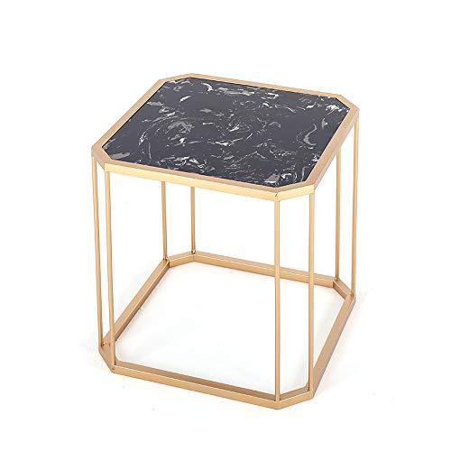 Laptopständer DD Beistelltisch, Nordic Marble Sofa Couchtisch, Schlafzimmer-Nachttisch-Wohnzimmer-Ecktisch, Quadratischer Eisentisch -Werkbank (Farbe : Gold)