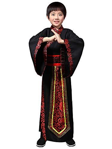 BOZEVON China Hanfu - Kinder Schwertkämpfer Kostüm Junge Martial Arts Drama Performance Kleidung,Schwarz,EU 140=Tag 150 (China Kostüm Kinder)