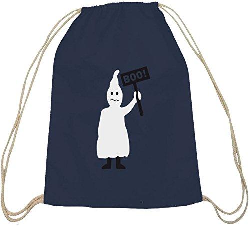 Halloween Grusel Kostüm natur Turnbeutel mit Halloween - Boo Gespenst Motiv dunkelblau natur