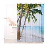 Relaxdays 10022617 Tenda Doccia, Vasca da Bagno, Immagine di Spiaggia, Poliestere, Lavabile, Anti-Muffa, 180x180cm, Colorata